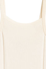 Fine-knit strappy top - Light beige -  | H&M CN 3