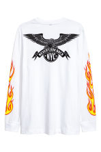 Printed long-sleeved T-shirt - White/New York - Men | H&M CN 3