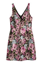 Jacquard-weave dress - Black/Floral - Ladies | H&M GB 2