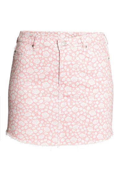H&M+ Patterned denim skirt - Light pink/Floral - Ladies | H&M
