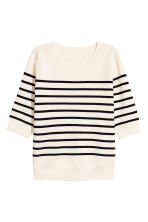Fine-knit jumper - Natural white/Striped - Ladies | H&M 2