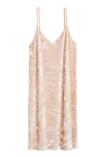 Crushed velvet dress - Light beige -  | H&M 2