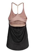 Sports top with sports bra - Black marl - Ladies | H&M 3