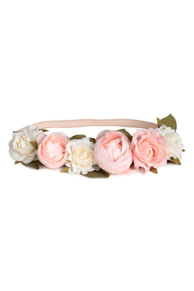 Hairband with flowers - Powder pink/White - Ladies | H&M CN 1
