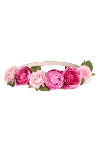 Hairband with flowers - Pink/Cerise - Ladies | H&M