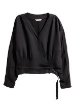 Lyocell-blend wrapover blouse - Black - Ladies | H&M CN 2