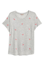 H&M+ Embroidered jersey top - Grey/Flamingo -  | H&M 2