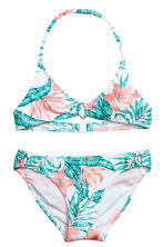Patterned triangle bikini - White/Leaf - Kids | H&M 1