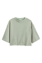 Short sweatshirt - Light khaki green - Ladies | H&M 2