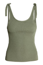 Ribbed top - Khaki green -  | H&M 2