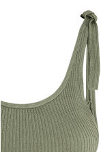 Ribbed top - Khaki green -  | H&M 3