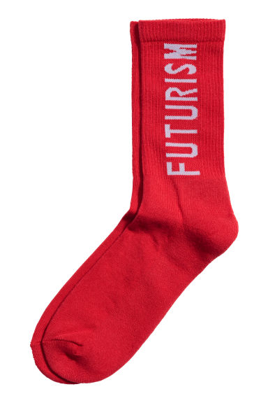 Socks with a text print - Red - Men | H&M 1