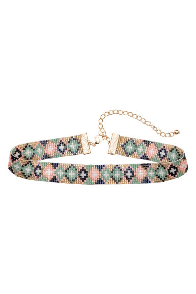 Glass bead choker - Green/Gold - Ladies | H&M 1