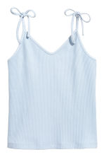 Ribbed strappy top - Light blue - Ladies | H&M 2