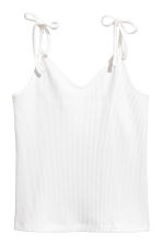 Ribbed strappy top - White - Ladies | H&M CN 2