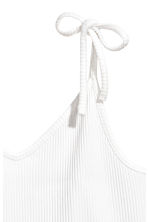 Ribbed strappy top - White - Ladies | H&M CN 3