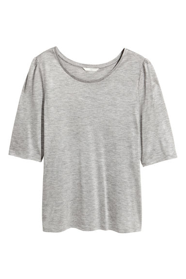Jersey puff-sleeve top - Grey marl -  | H&M CN 1