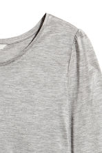 Jersey puff-sleeve top - Grey marl - Ladies | H&M CN 2