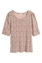 Jersey puff-sleeve top - Powder/Patterned -  | H&M 2