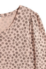 Jersey puff-sleeve top - Powder/Patterned -  | H&M 3