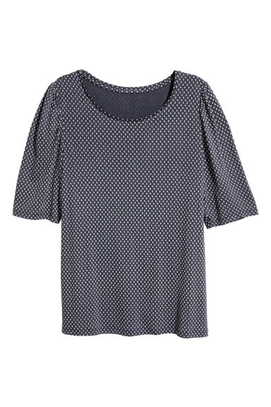 Jersey puff-sleeve top - Dark blue/Patterned -  | H&M 1