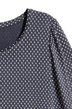 Jersey puff-sleeve top - Dark blue/Patterned -  | H&M 2