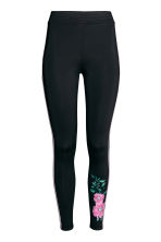 Jersey leggings with stripes - Black/Pink floral - Ladies | H&M CN 2