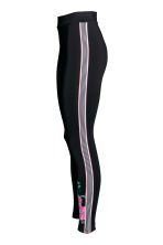 Jersey leggings with stripes - Black/Pink floral - Ladies | H&M CN 3