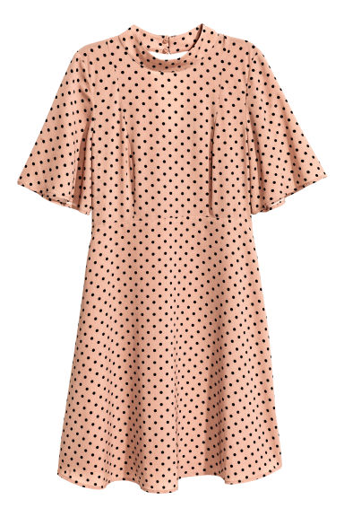 Patterned dress - Powder beige/Spotted -  | H&M