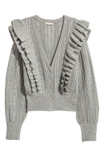 Frilled cardigan - Grey marl - Ladies | H&M CN 2