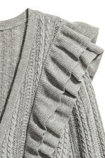 Frilled cardigan - Grey marl - Ladies | H&M 3