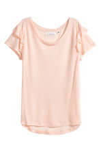 Frilled jersey top - Powder pink marl - Ladies | H&M CN 2