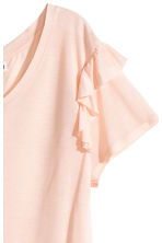 Frilled jersey top - Powder pink marl - Ladies | H&M CN 3