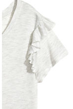 Frilled jersey top - Light grey marl - Ladies | H&M 3