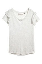 Frilled jersey top - Light grey marl - Ladies | H&M 2