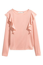 Jersey top with ruffles - Powder pink - Ladies | H&M 1