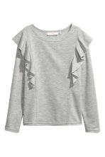 Jersey top with ruffles - Grey marl - Ladies | H&M 1