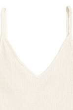 Ribbed strappy top - Natural white - Ladies | H&M CN 3