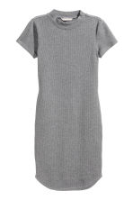 Fitted jersey dress - Grey marl -  | H&M CN 2