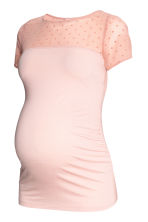 MAMA Top with a mesh yoke - Powder pink - Ladies | H&M 2