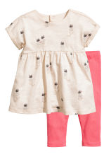 Dress and tights - Light beige/Pineapple - Kids | H&M 1