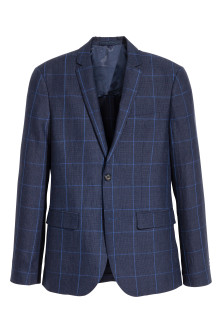 Checked linen jacket Slim fit