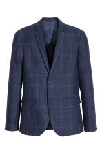Checked linen jacket Slim fit - Dark blue - Men | H&M CA 2