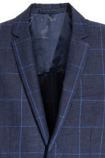 Checked linen jacket Slim fit - Dark blue - Men | H&M CA 4