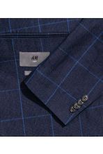 Checked linen jacket Slim fit - Dark blue - Men | H&M CN 3