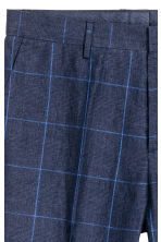 貼身亞麻西裝褲 - Dark blue/Checked - Men | H&M 4