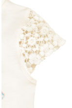 Top with lace sleeves - White/Birds -  | H&M 3