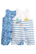 2-pack jersey romper suits - Blue/Patterned - Kids | H&M CN 1
