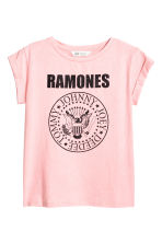Printed jersey top - Light pink/Ramones - Kids | H&M CN 2