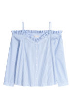Off-the-shoulder blouse - Blue/White/Striped - Ladies | H&M CN 2